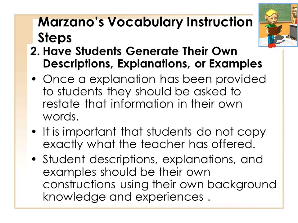 Marzano's Vocabulary Instruction Steps