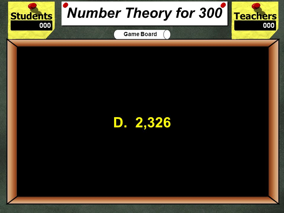 Number Theory for 300D. 2,326. 300.