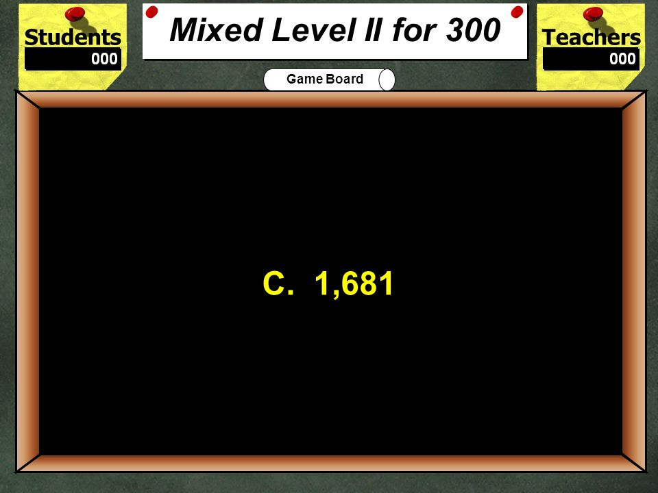 Mixed Level II for 300C. 1,681. 300.