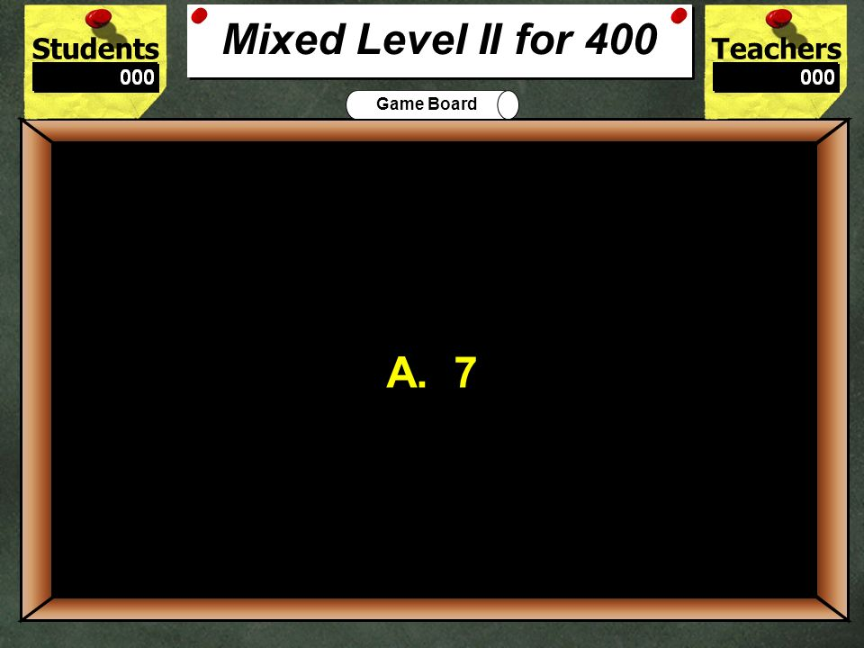 Mixed Level II for 400 A. 7. 400.