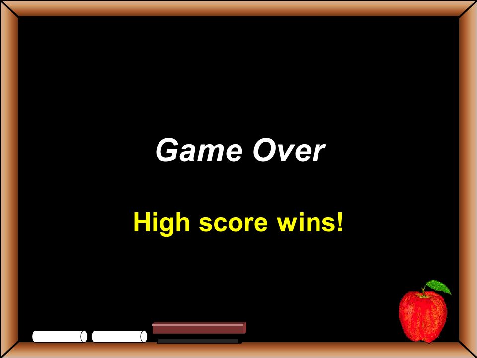 Game Over High score wins!