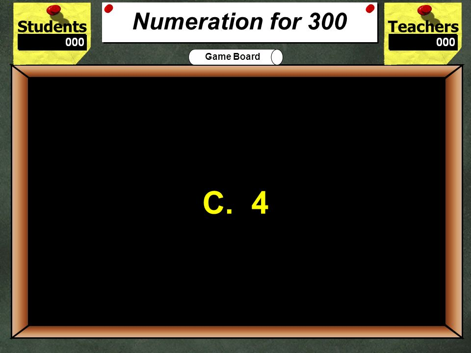 Numeration for 300 C. 4. 300. In the number 23,456, which digit is in the hundreds place A. 2.