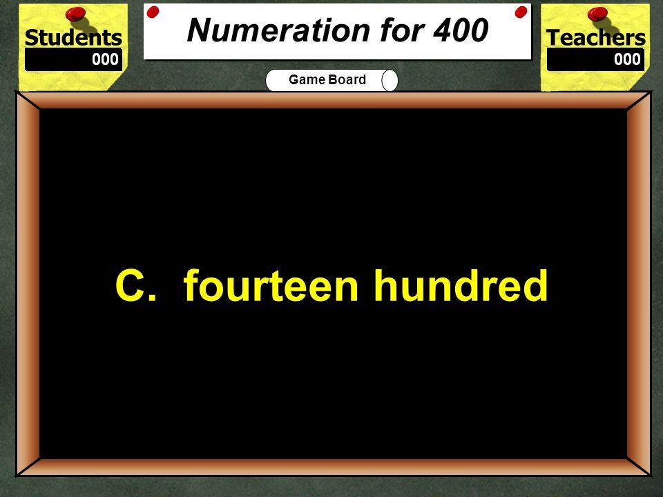 400 C. fourteen hundred Numeration for 400