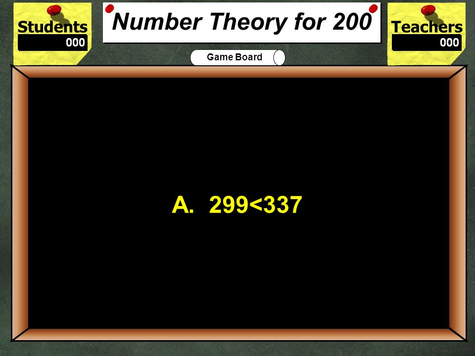 200 Number Theory for 200 A. 299<337