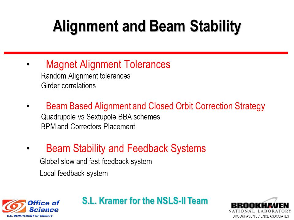 Alignment and Beam Stability
