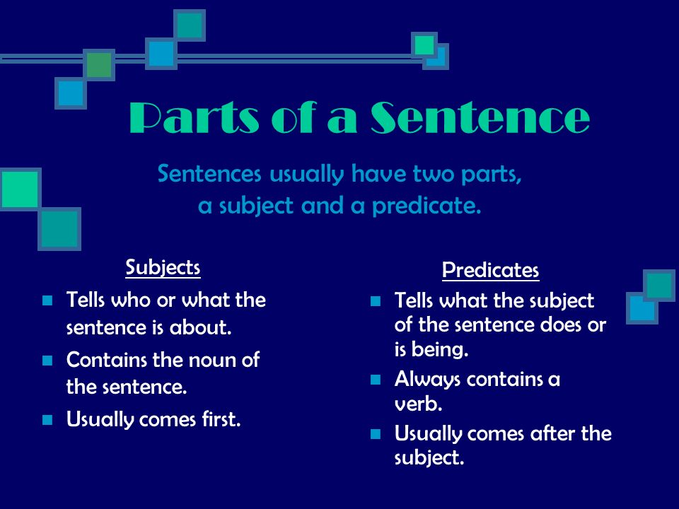Parts of a Sentence Sentences usually have two parts,