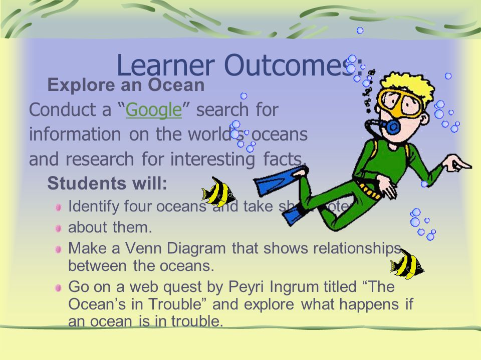 Learner Outcomes: Explore an Ocean Conduct a Google search for