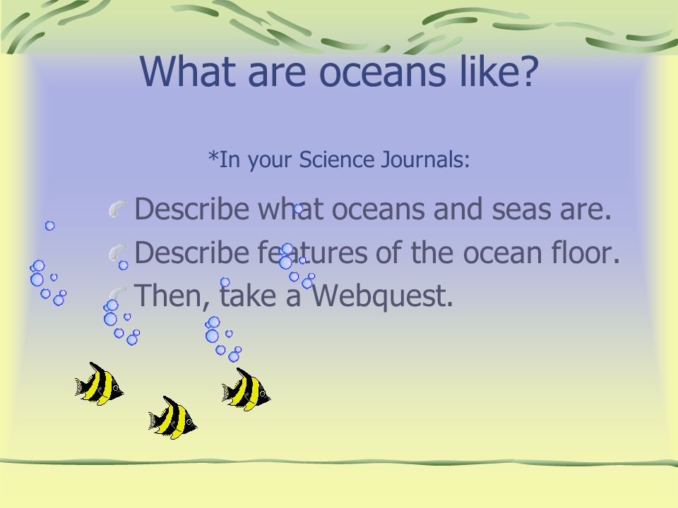 What are oceans like *In your Science Journals: