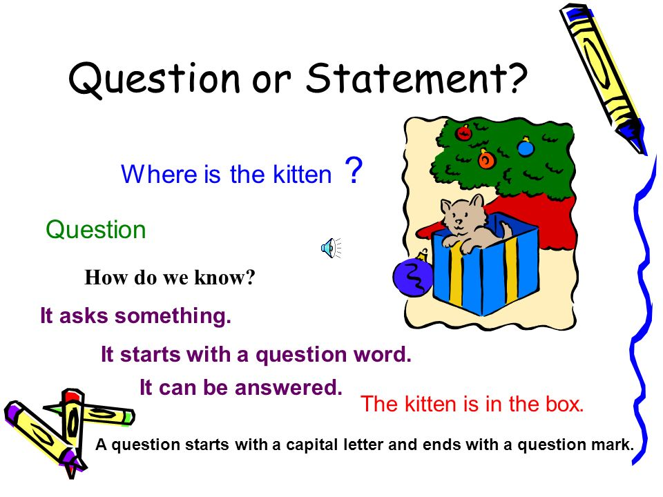 Question or Statement Where is the kitten Question How do we know