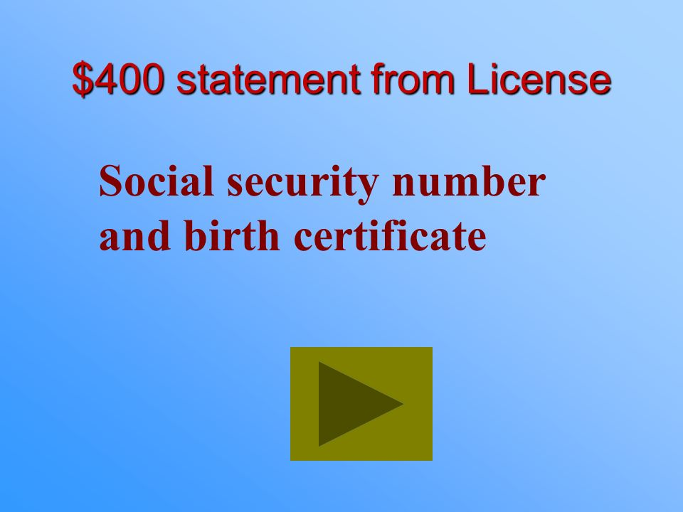 $400 statement from License