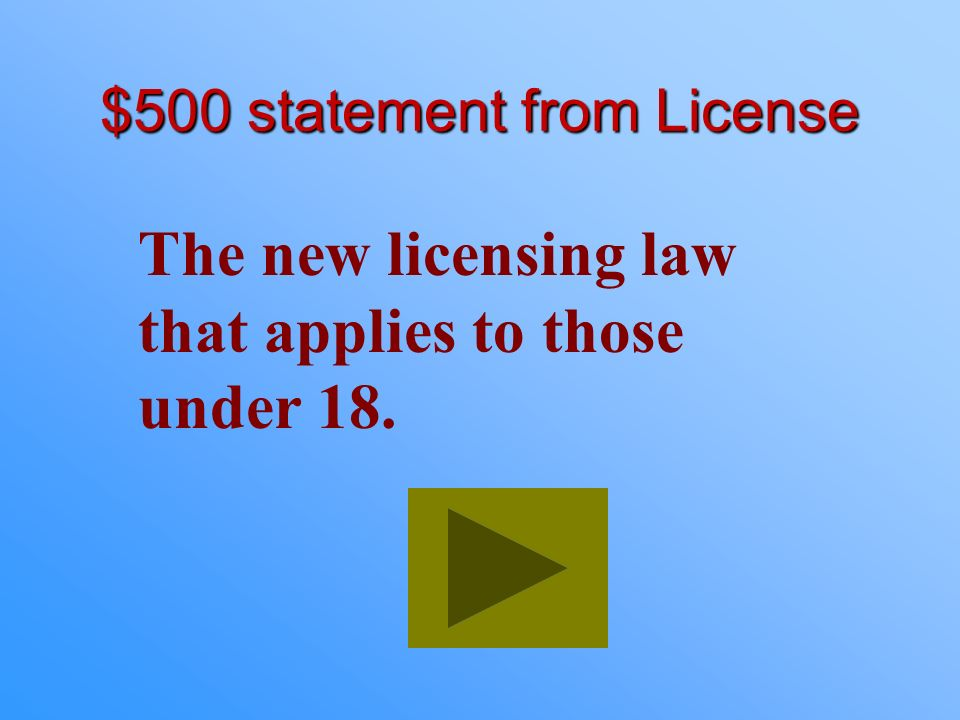 $500 statement from License