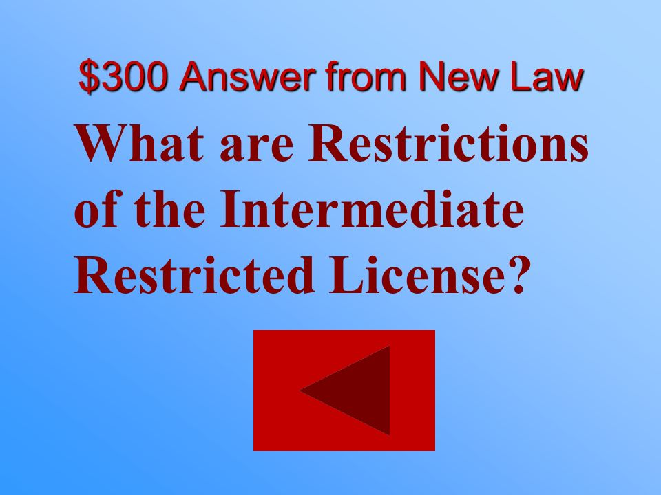 What are Restrictions of the Intermediate Restricted License