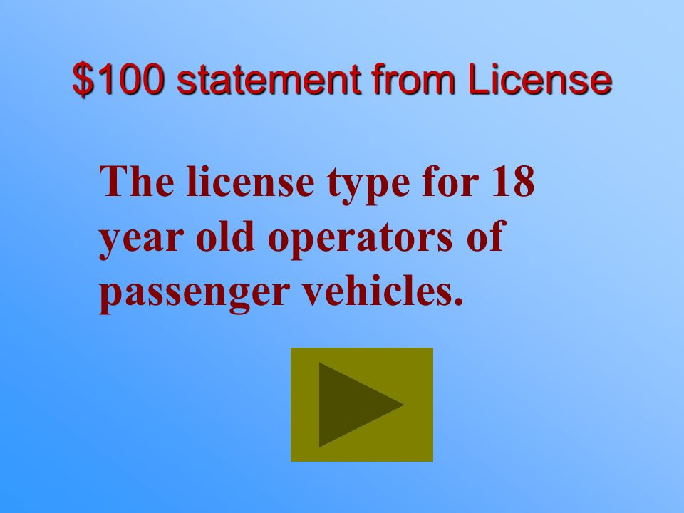 $100 statement from License