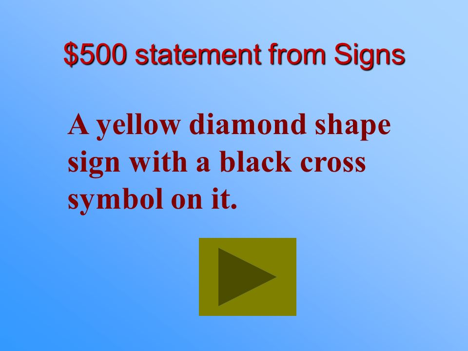 A yellow diamond shape sign with a black cross symbol on it.