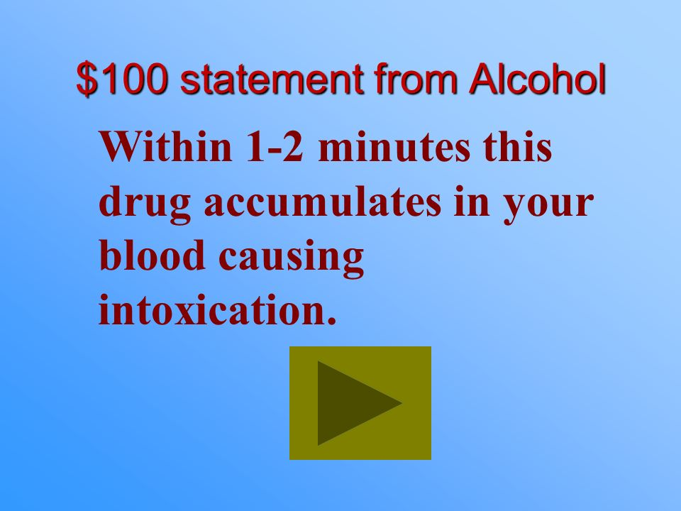$100 statement from Alcohol