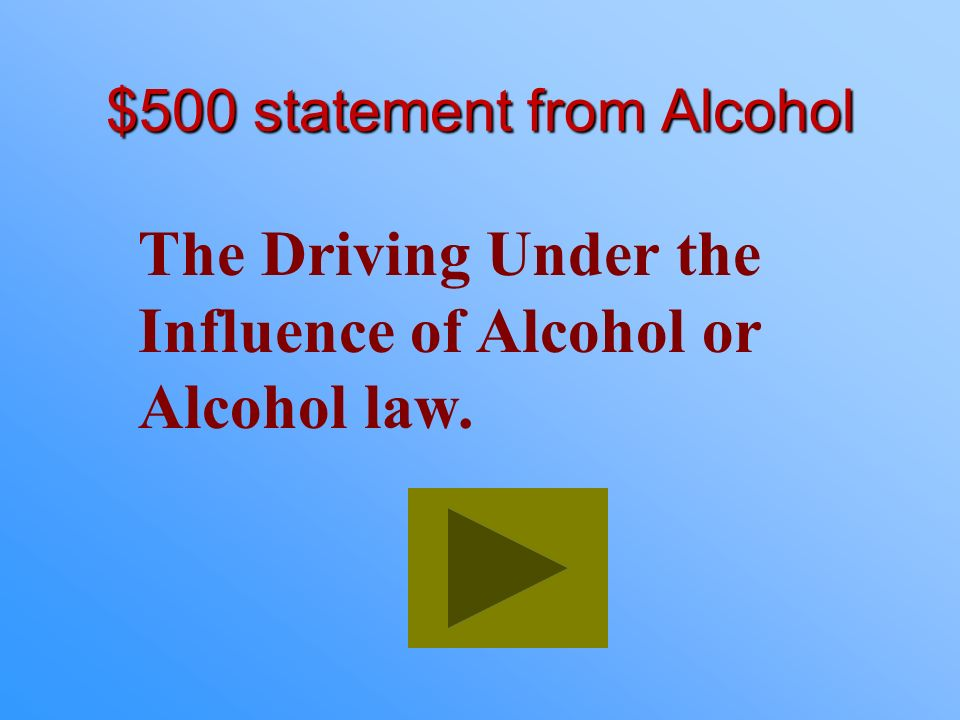 $500 statement from Alcohol