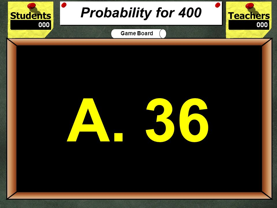 Probability for 400 A. 36. 400.