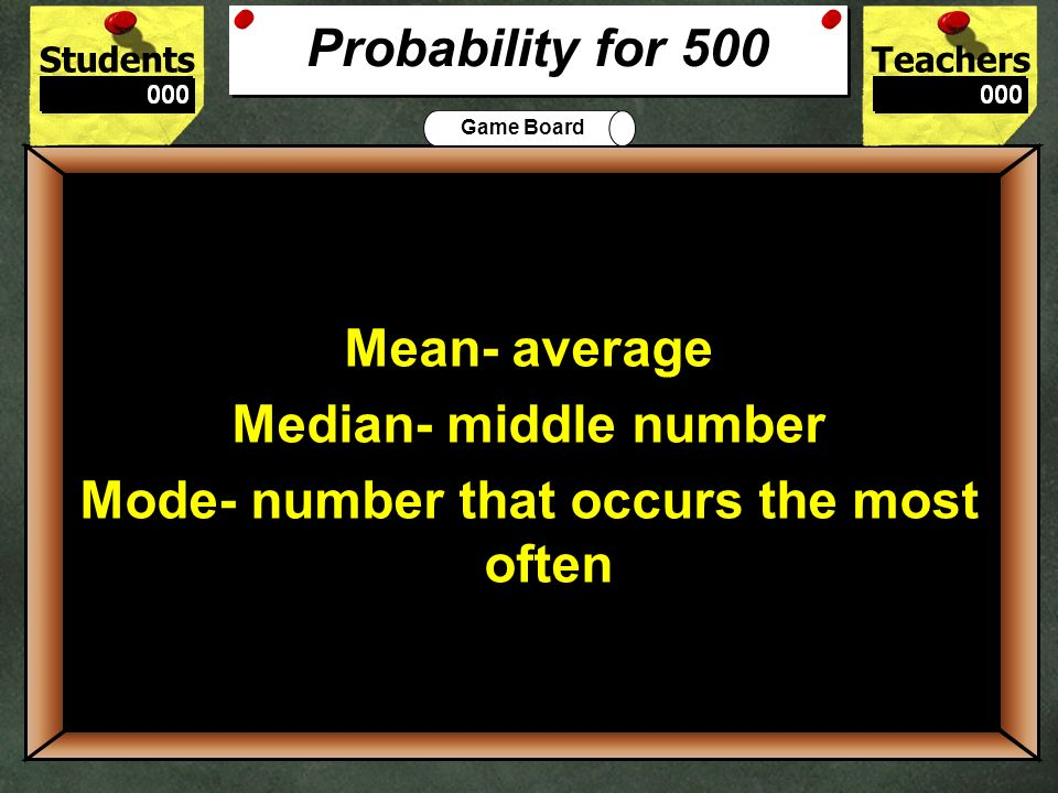500 Probability for 500 Mean- average Median- middle number