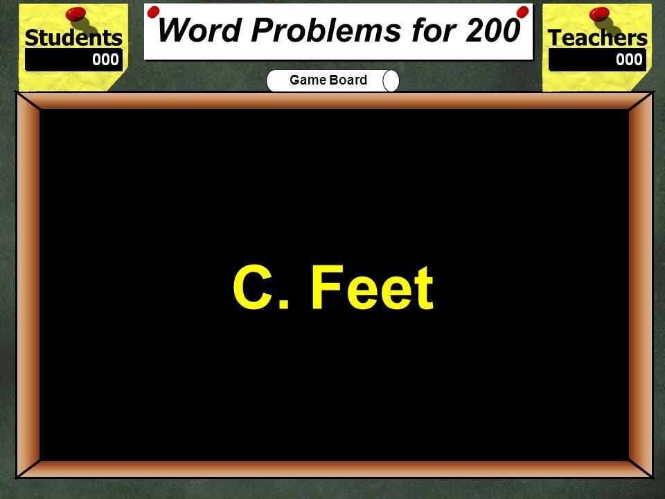 200 C. Feet Word Problems for 200