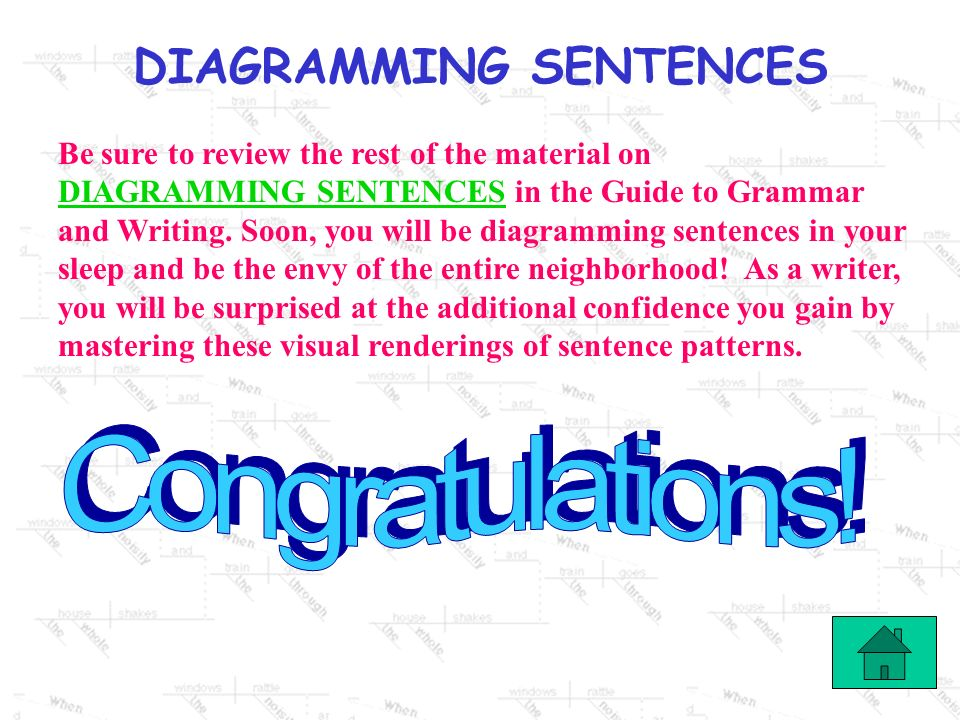 Be sure to review the rest of the material on DIAGRAMMING SENTENCES in the Guide to Grammar and Writing. Soon, you will be diagramming sentences in your sleep and be the envy of the entire neighborhood! As a writer, you will be surprised at the additional confidence you gain by mastering these visual renderings of sentence patterns.