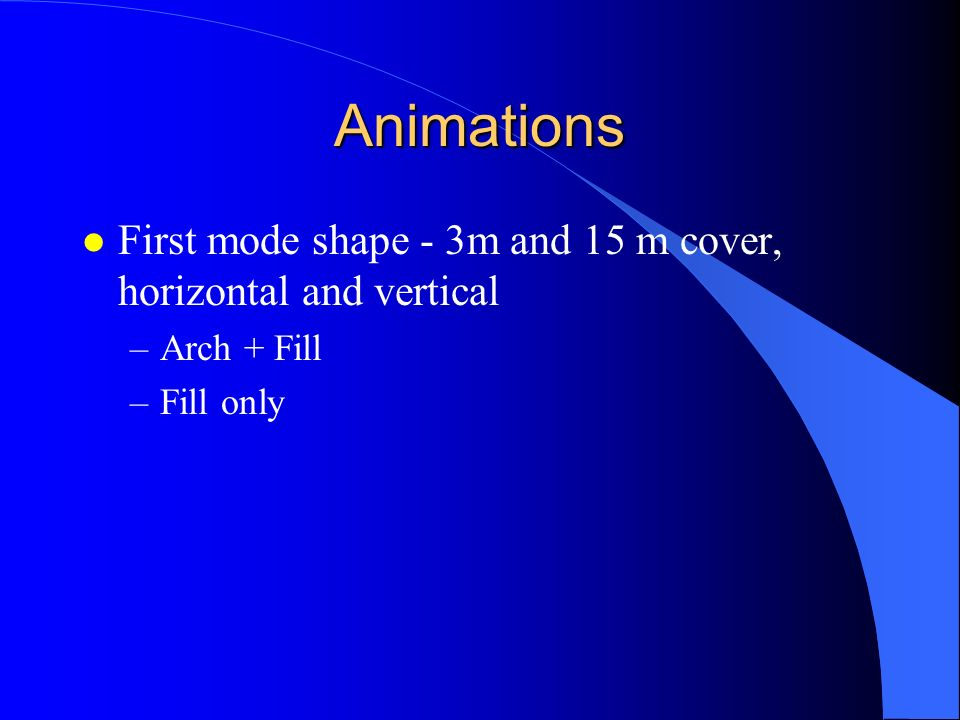 Animations First mode shape - 3m and 15 m cover, horizontal and vertical Arch + Fill Fill only