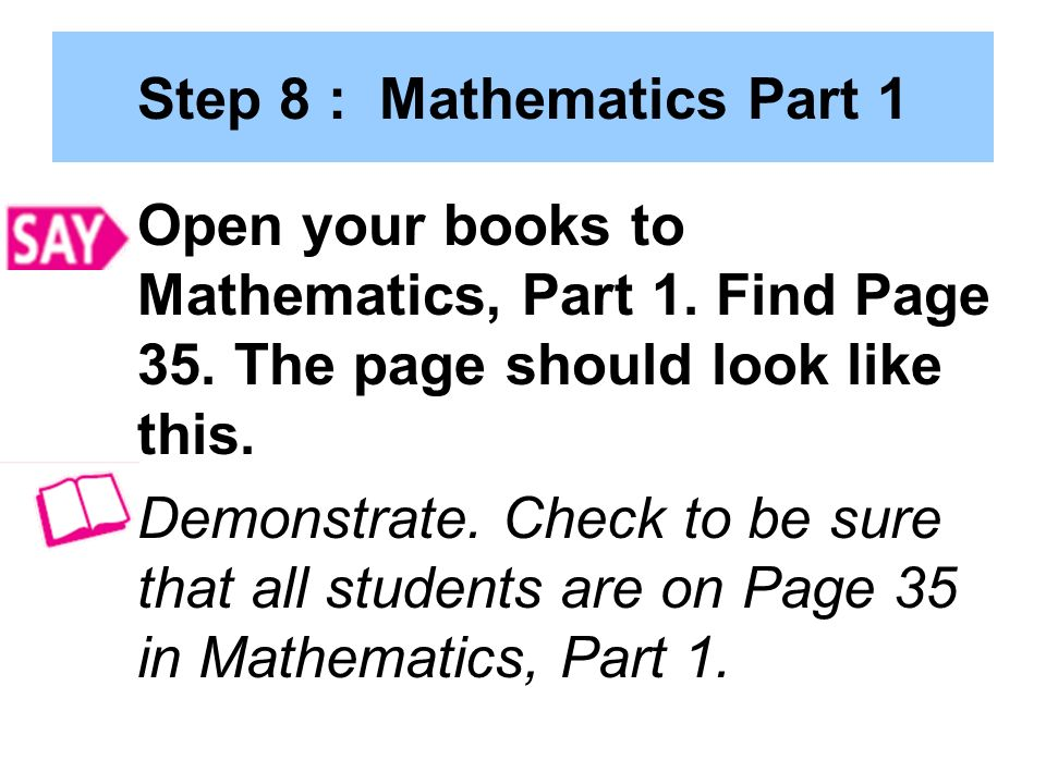 Step 8 : Mathematics Part 1