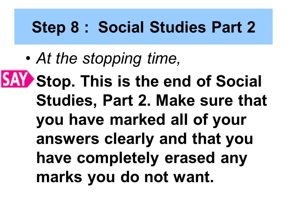 Step 8 : Social Studies Part 2