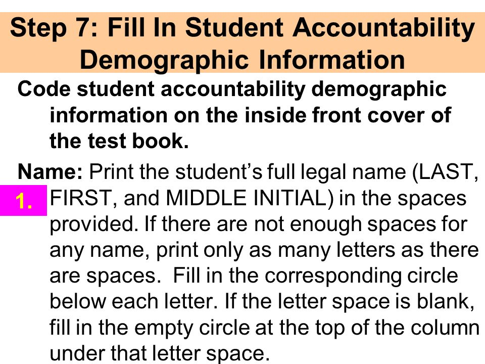 Step 7: Fill In Student Accountability Demographic Information
