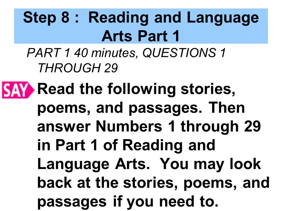 Step 8 : Reading and Language Arts Part 1