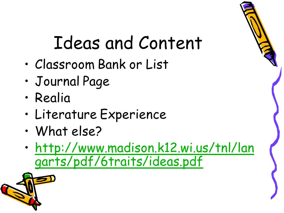 Ideas and Content Classroom Bank or List Journal Page Realia