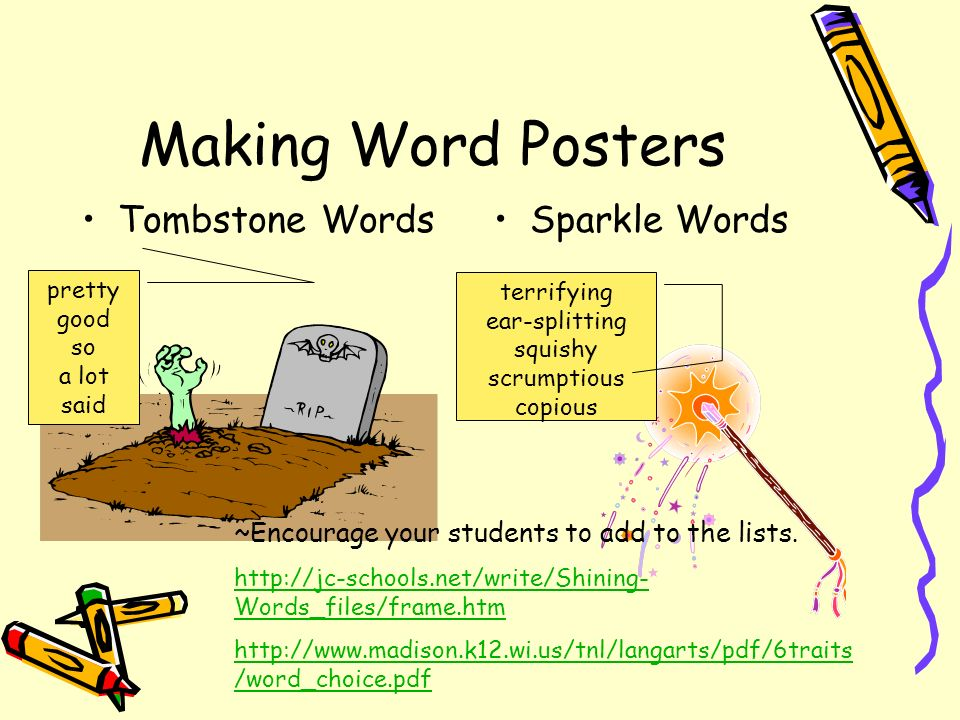 Making Word Posters Tombstone Words Sparkle Words