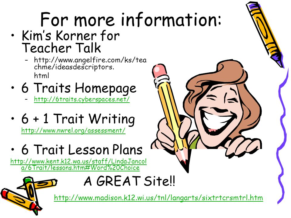 For more information: Kim's Korner for Teacher Talk 6 Traits Homepage