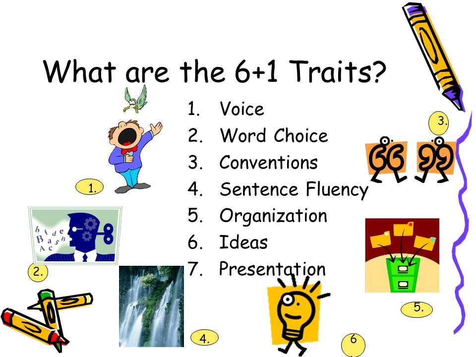 What are the 6+1 Traits Voice Word Choice Conventions