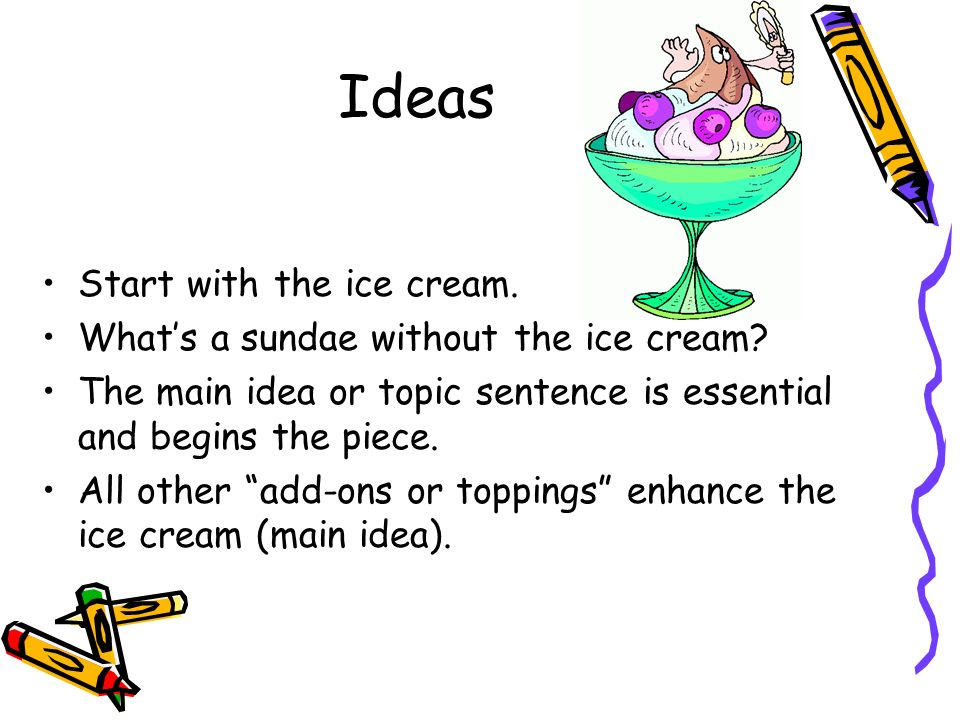 Ideas Start with the ice cream. What's a sundae without the ice cream