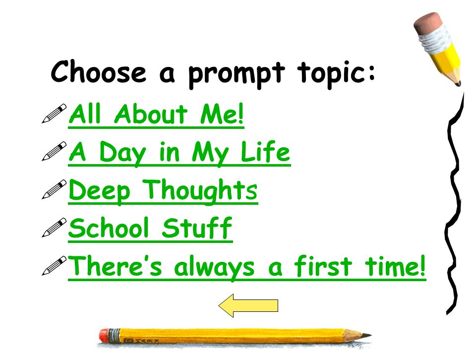 Choose a prompt topic: All About Me! A Day in My Life Deep Thoughts