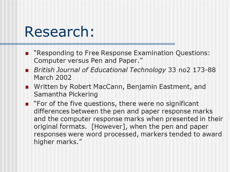 technology research papers in education Educational technology research and development is the only scholarly journal in the field focusing entirely on research and development in educational technology the research section assigns highest priority in reviewing manuscripts to rigorous original quantitative, qualitative, or mixed methods.