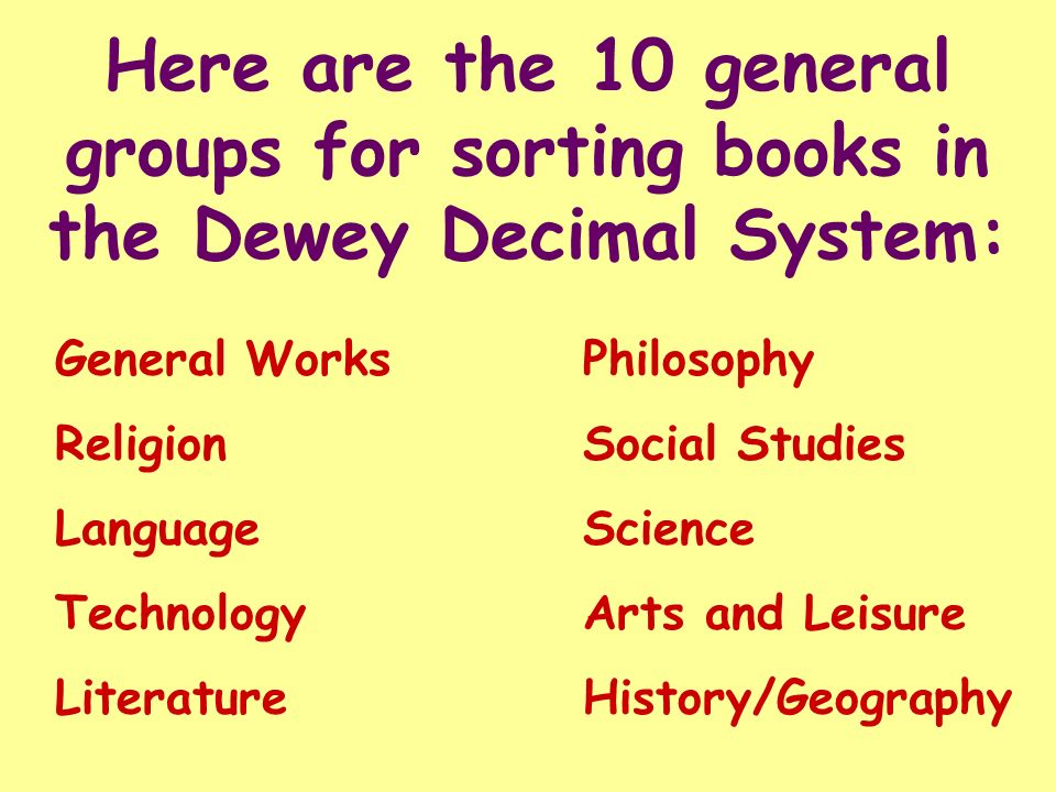 Here are the 10 general groups for sorting books in the Dewey Decimal System: