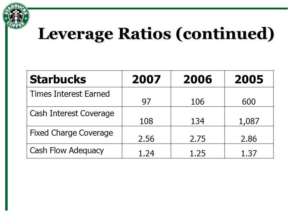 starbucks ratios Starbucks is expanding by taking on debt adam jones market realist december 30, 2014  it's best to look at debt in terms of ratio.