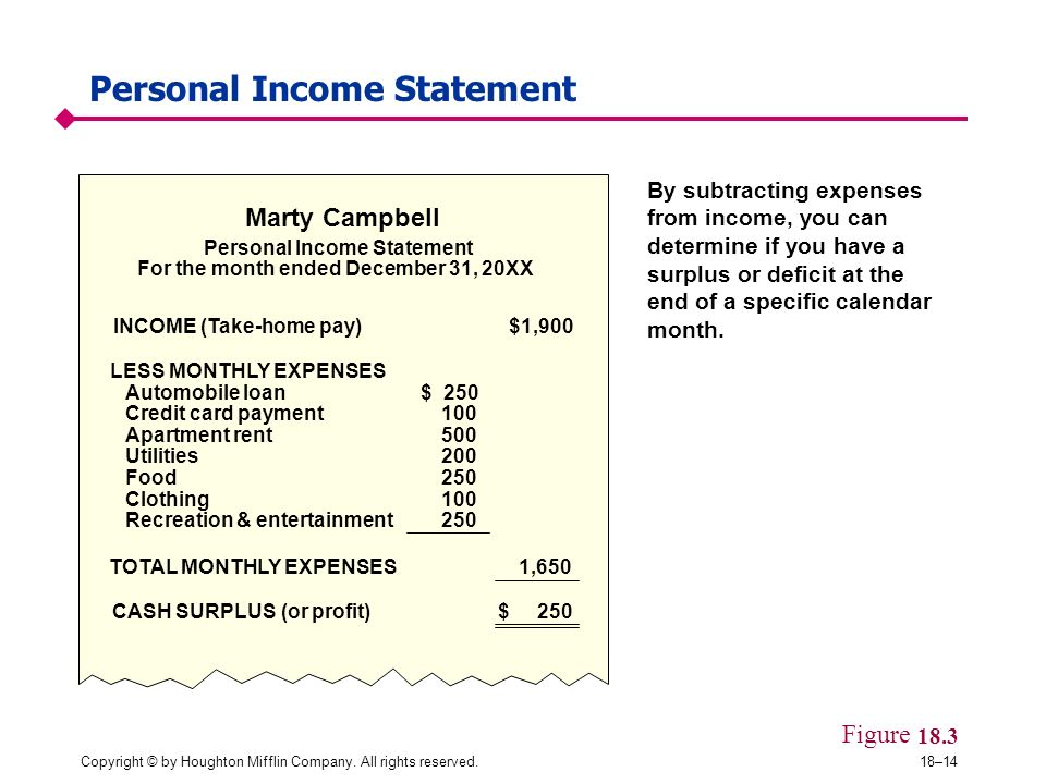 Personal Income Statement  Personal Profit And Loss Statement
