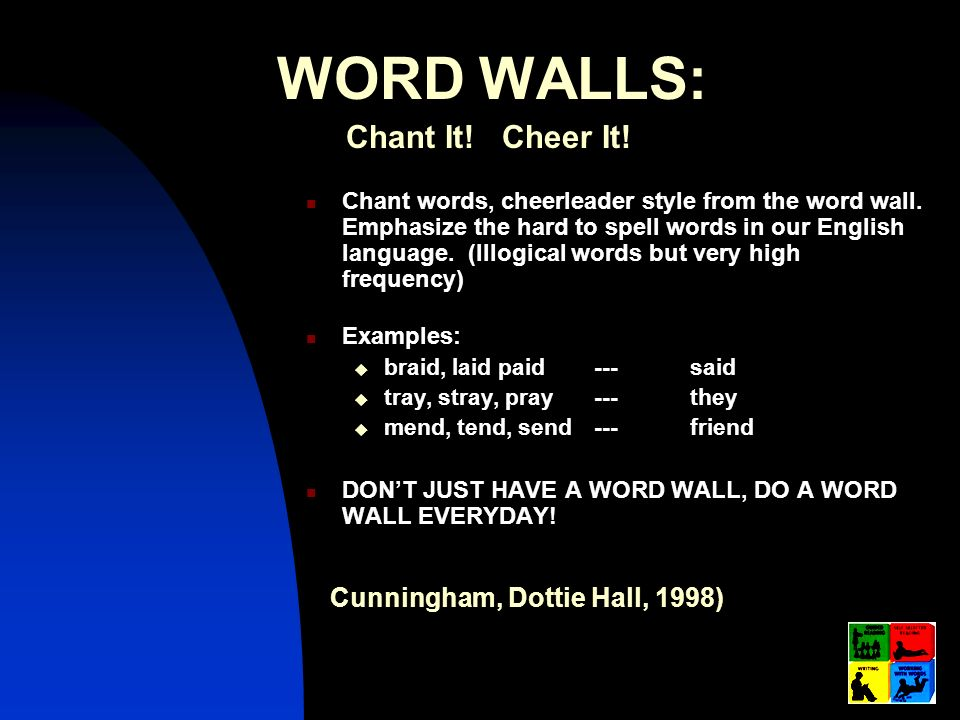 WORD WALLS: Chant It! Cheer It! Cunningham, Dottie Hall, 1998)