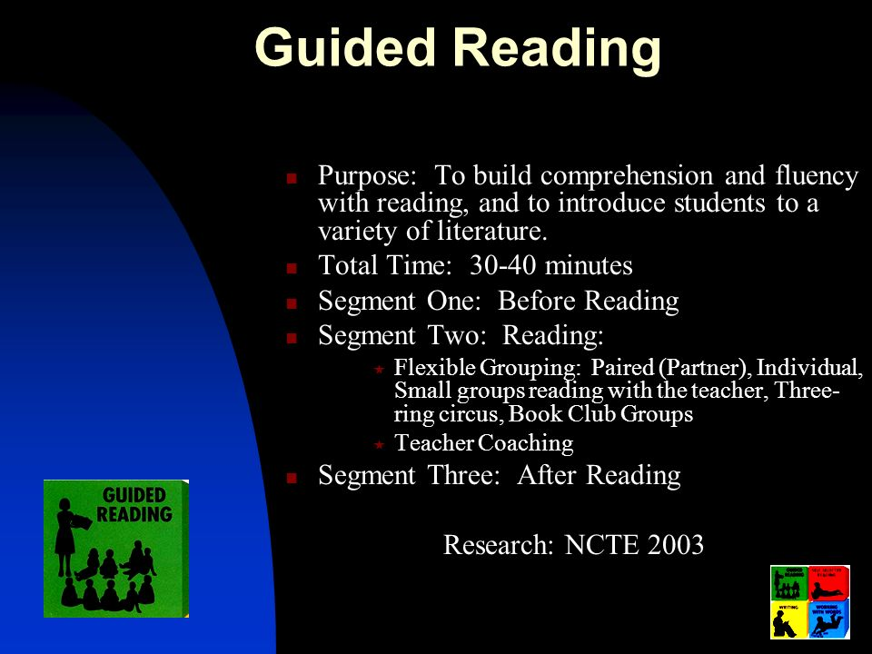 Guided Reading Purpose: To build comprehension and fluency with reading, and to introduce students to a variety of literature.