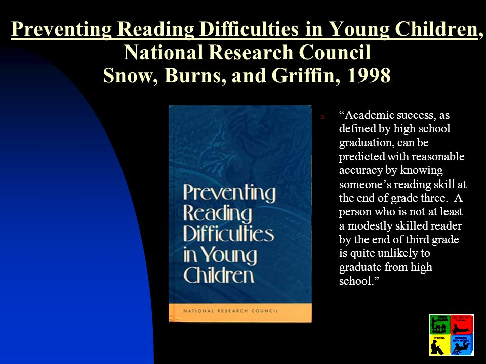 Preventing Reading Difficulties in Young Children, National Research Council Snow, Burns, and Griffin, 1998