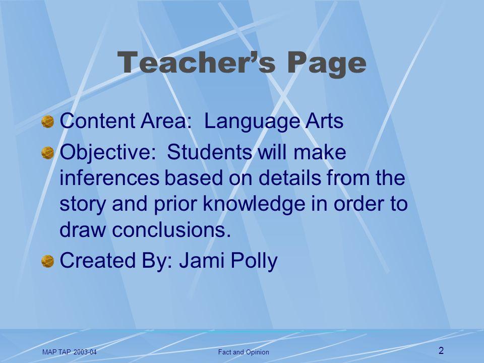 Teacher's Page Content Area: Language Arts