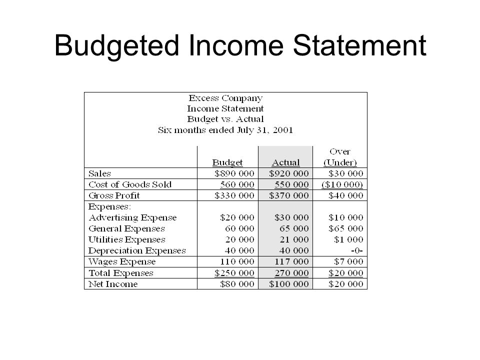 budgeted income statement template 28 images budgeted