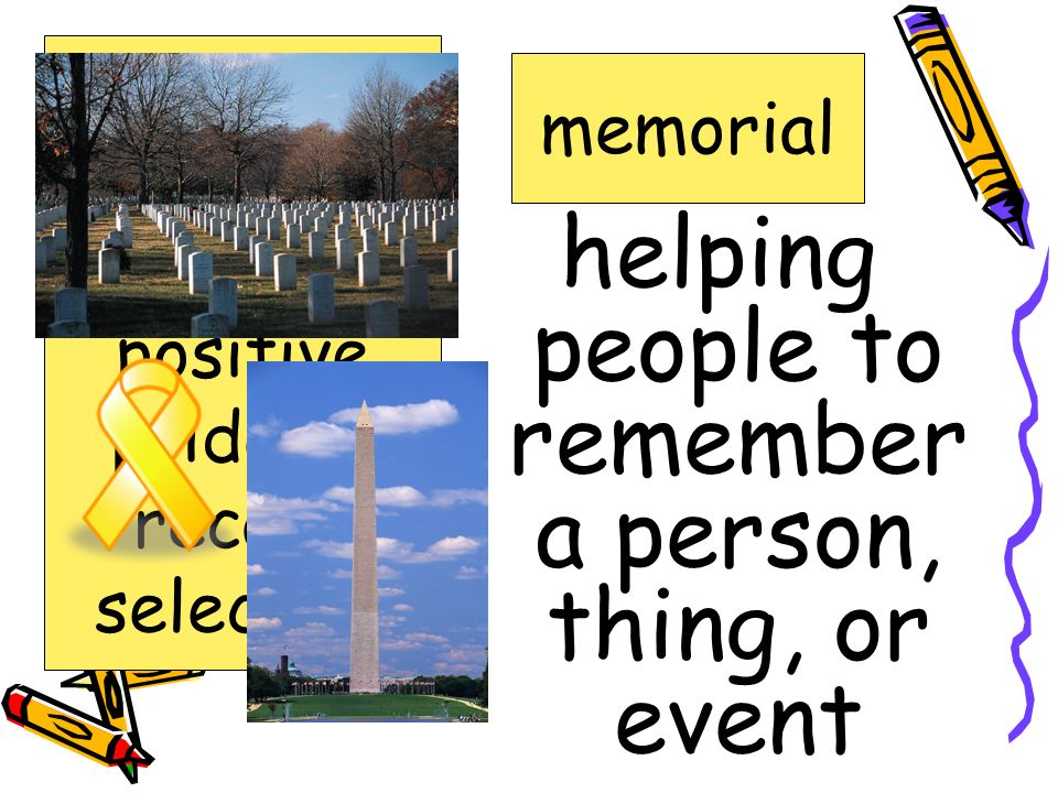 helping people to remember a person, thing, or event