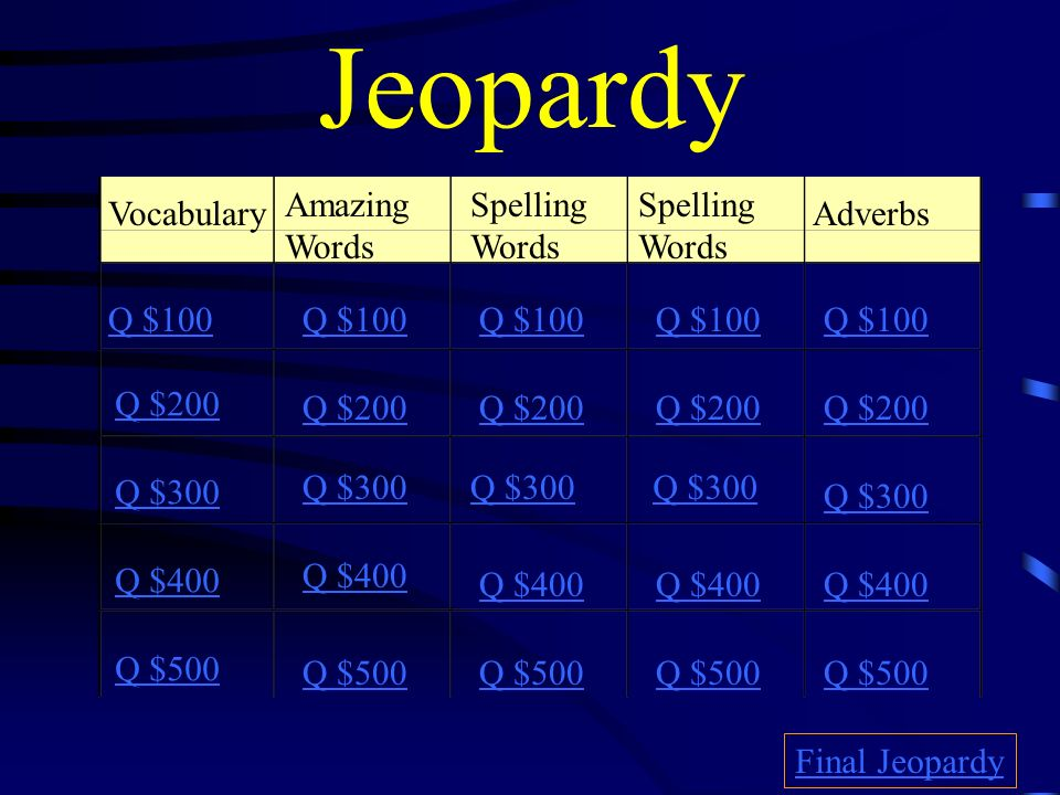 Jeopardy Amazing Words Spelling Words Spelling Words Vocabulary