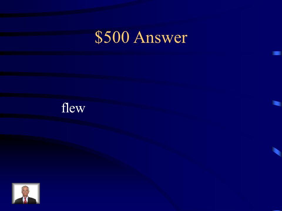 $500 Answer flew