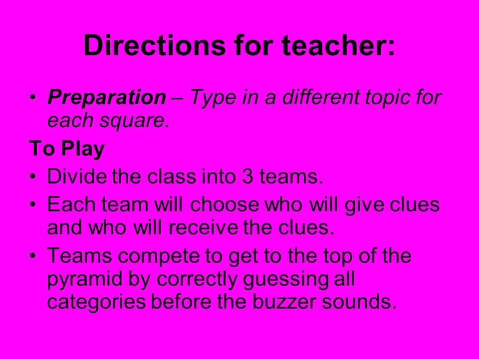 Directions for teacher: