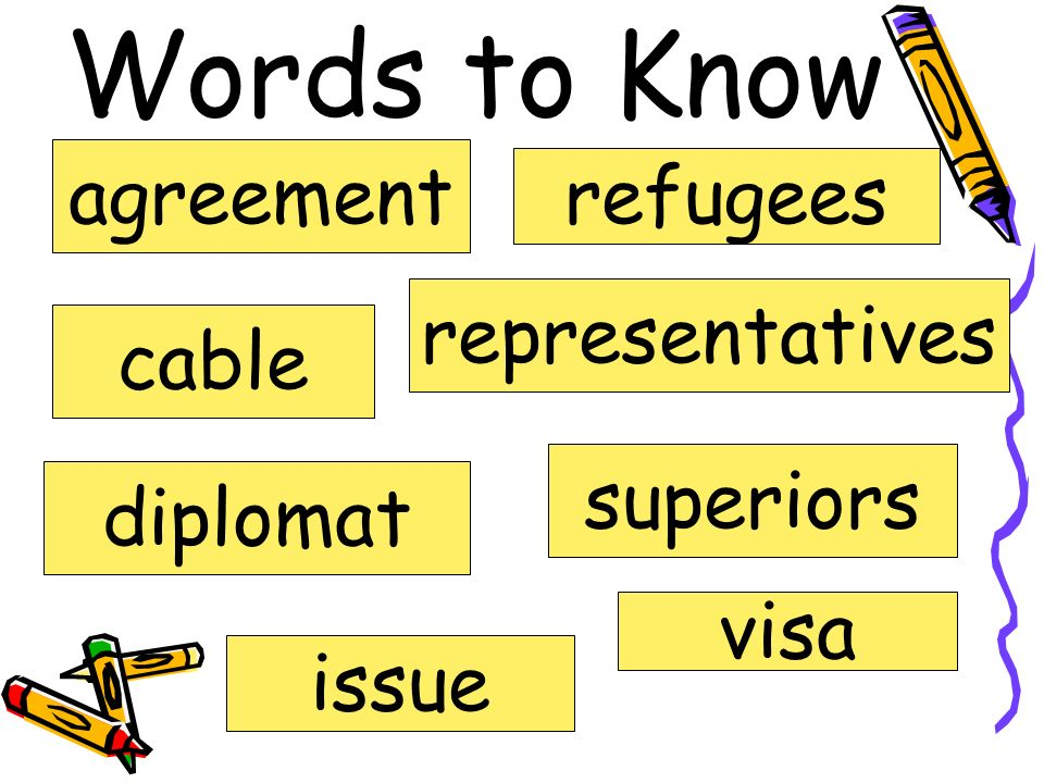 Words to Know agreement refugees representatives cable superiors