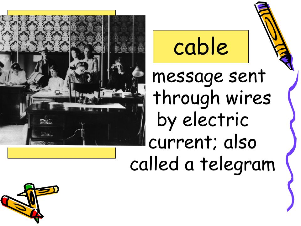 message sent through wires by electric current; also called a telegram